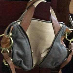 Tri color bag ,with adjustable strap All leather